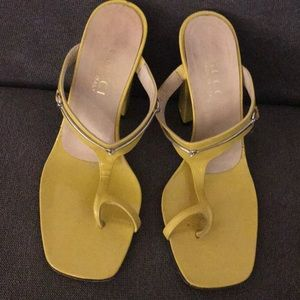Gucci yellow heeled sandals